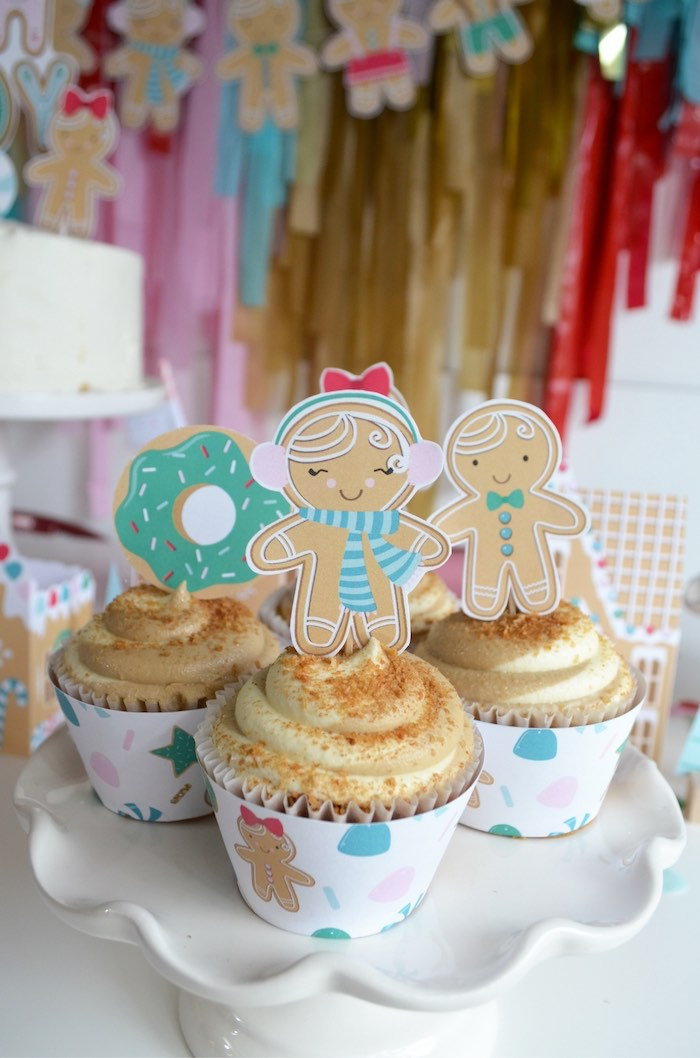 Gingerbread Man Cupcake Cups + Toppers from a Gingerbread Candy Land Christmas Party on Kara's Party Ideas | KarasPartyIdeas.com (10)