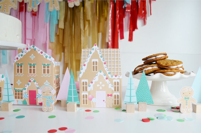 Paper Gingerbread Houses + Centerpieces from a Gingerbread Candy Land Christmas Party on Kara's Party Ideas | KarasPartyIdeas.com (7)