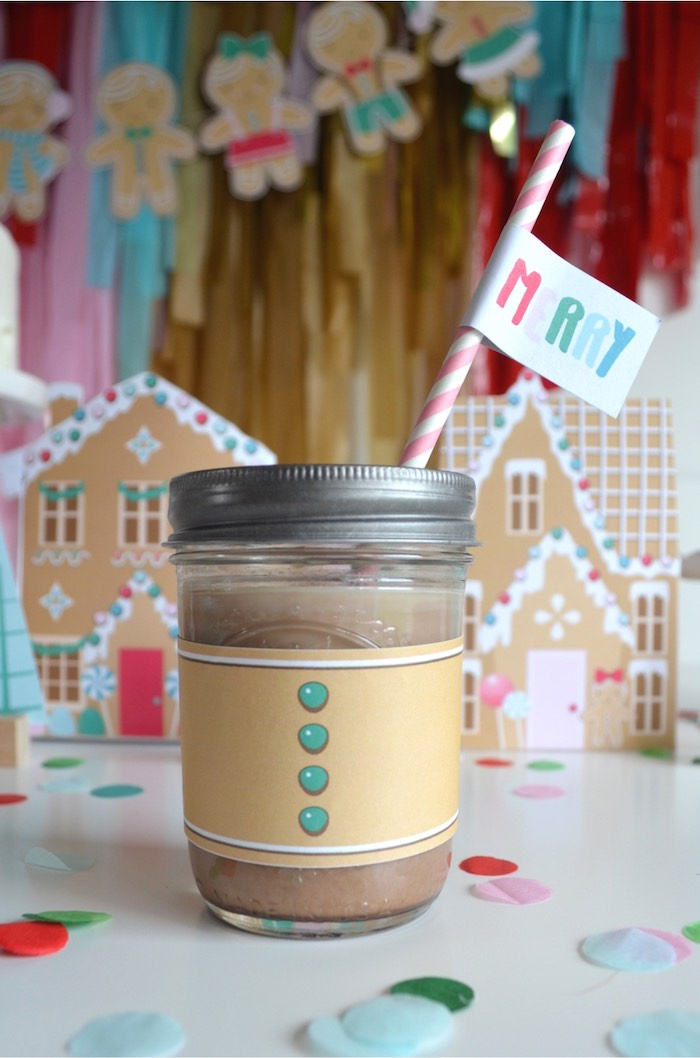 Gingerbread Man Mason Jar Drink Cup from a Gingerbread Candy Land Christmas Party on Kara's Party Ideas | KarasPartyIdeas.com (6)