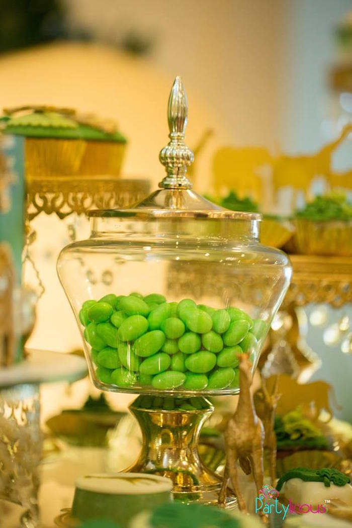 Gold Candy Dish from a Golden Safari Birthday Party on Kara's Party Ideas | KarasPartyIdeas.com (19)