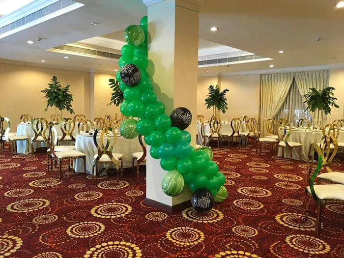 Safari Themed Balloon Garland from a Golden Safari Birthday Party on Kara's Party Ideas | KarasPartyIdeas.com (17)