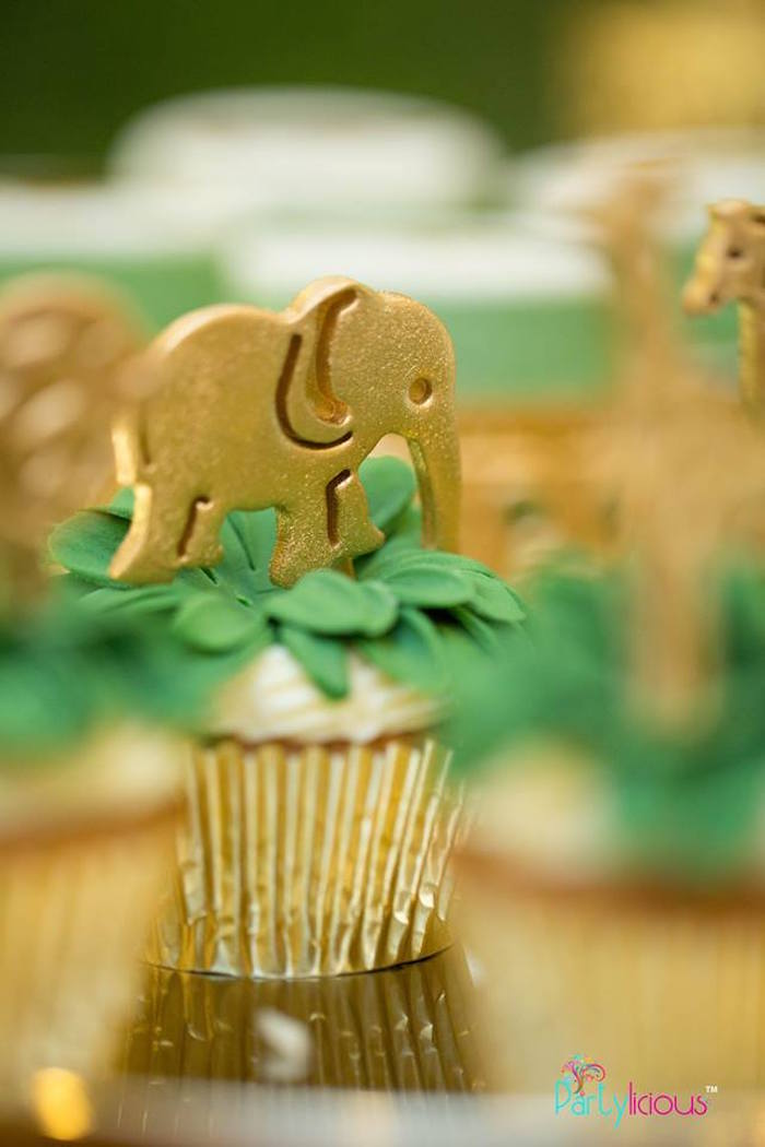 Safari Elephant Cupcake from a Golden Safari Birthday Party on Kara's Party Ideas | KarasPartyIdeas.com (15)