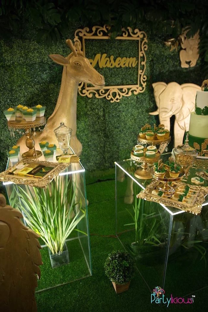 Safari Themed Dessert Tables from a Golden Safari Birthday Party on Kara's Party Ideas | KarasPartyIdeas.com (12)