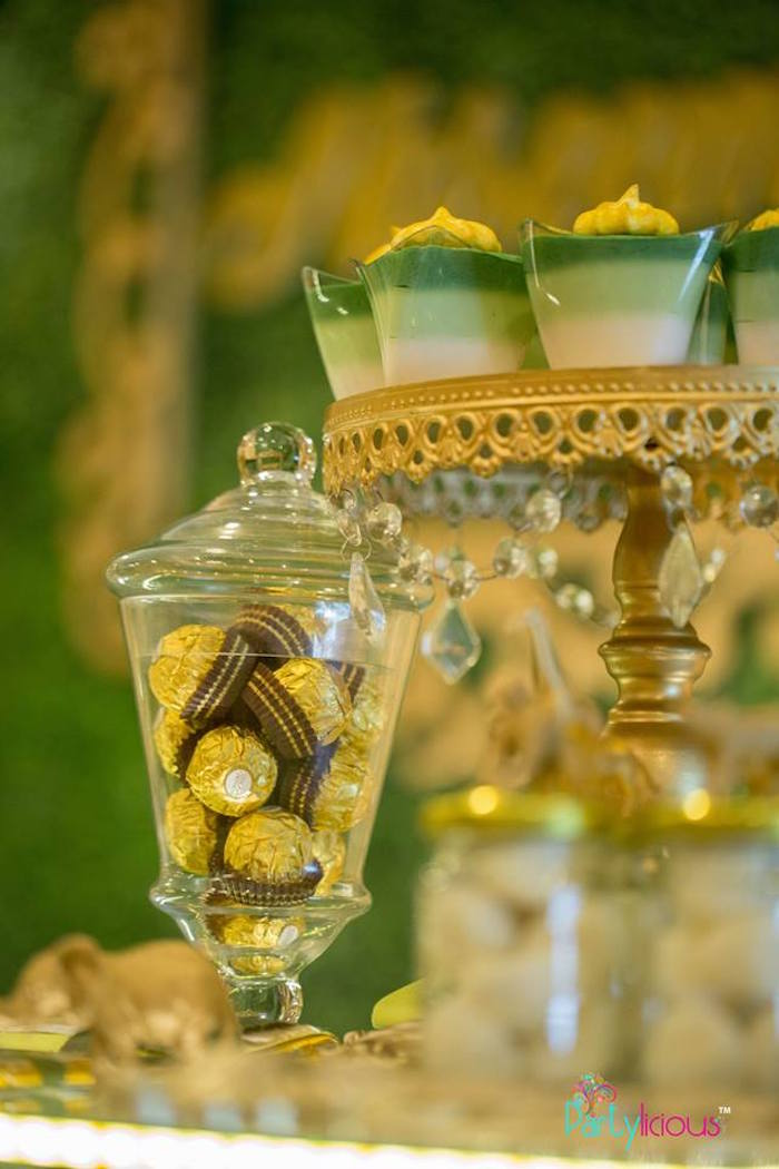 Dessert Cups & Ferrero Rocher Chocolates from a Golden Safari Birthday Party on Kara's Party Ideas | KarasPartyIdeas.com (7)