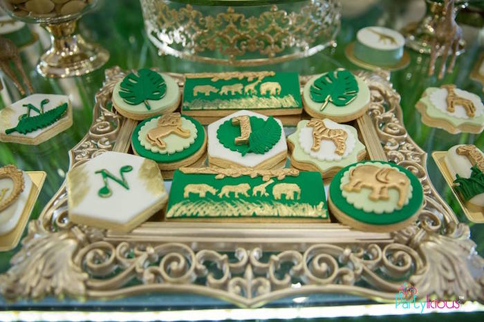 Safari-inspired Cookies from a Golden Safari Birthday Party on Kara's Party Ideas | KarasPartyIdeas.com (30)