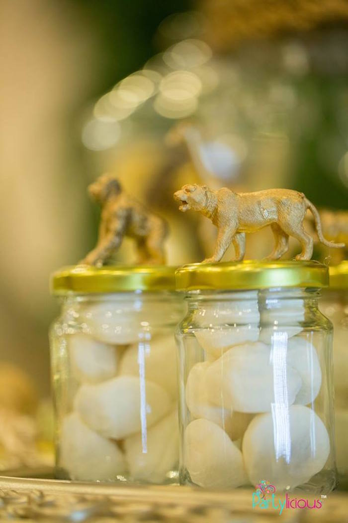 Safari Animal Favor Jars from a Golden Safari Birthday Party on Kara's Party Ideas | KarasPartyIdeas.com (29)