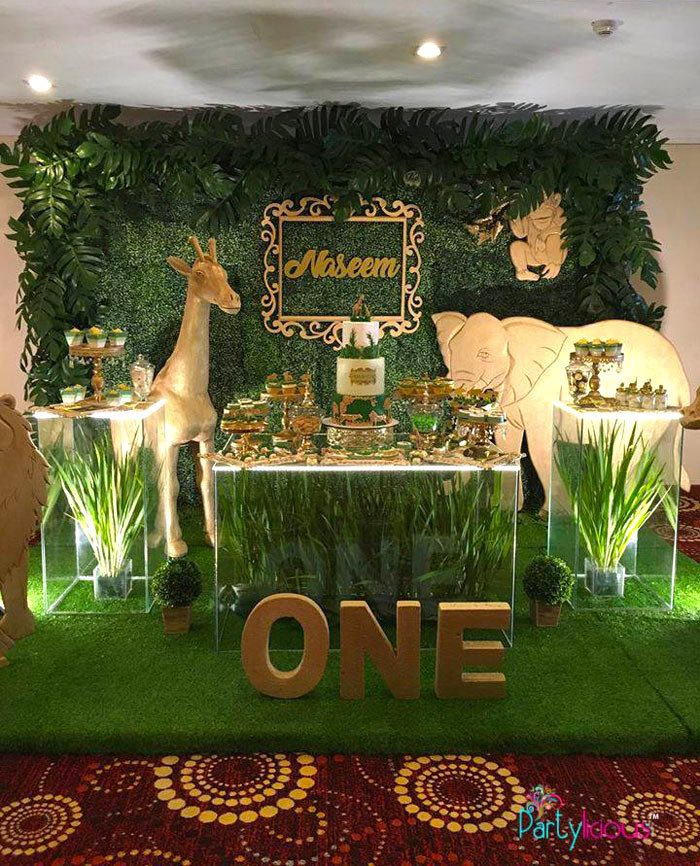 Safari-inspired Dessert Table from a Golden Safari Birthday Party on Kara's Party Ideas | KarasPartyIdeas.com (28)