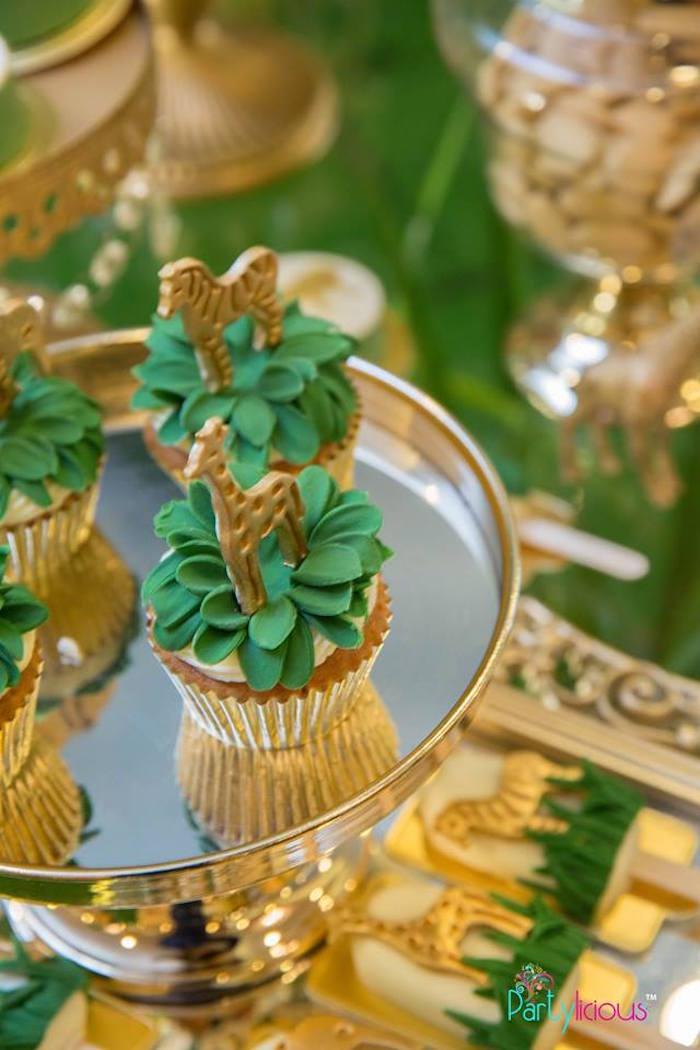 Safari Cupcakes from a Golden Safari Birthday Party on Kara's Party Ideas   KarasPartyIdeas.com (27)