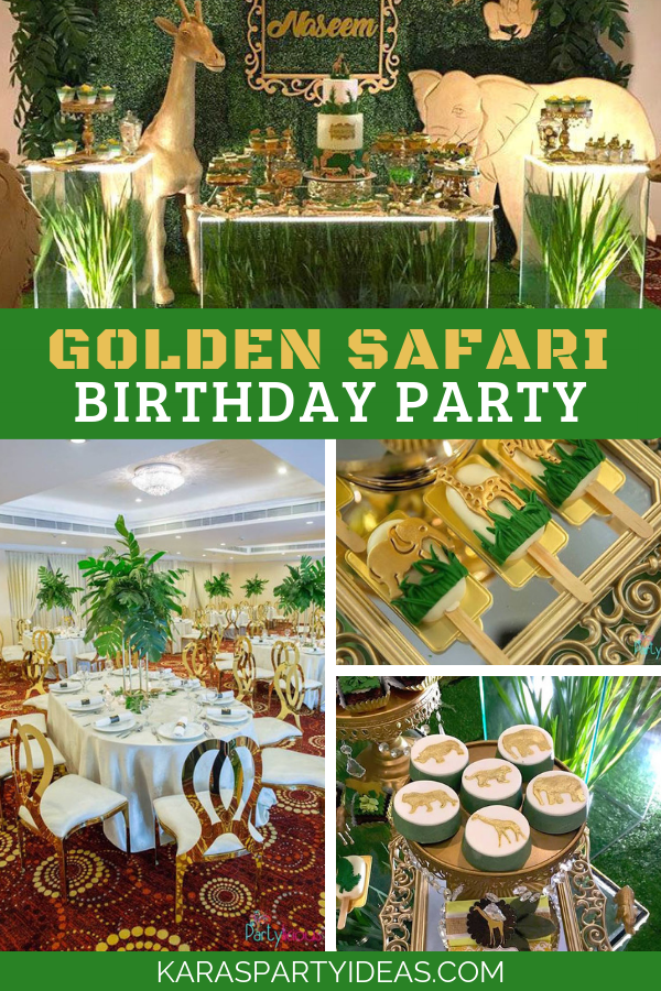 Golden Safari Birthday Party via Kara's Party Ideas - KarasPartyIdeas.com