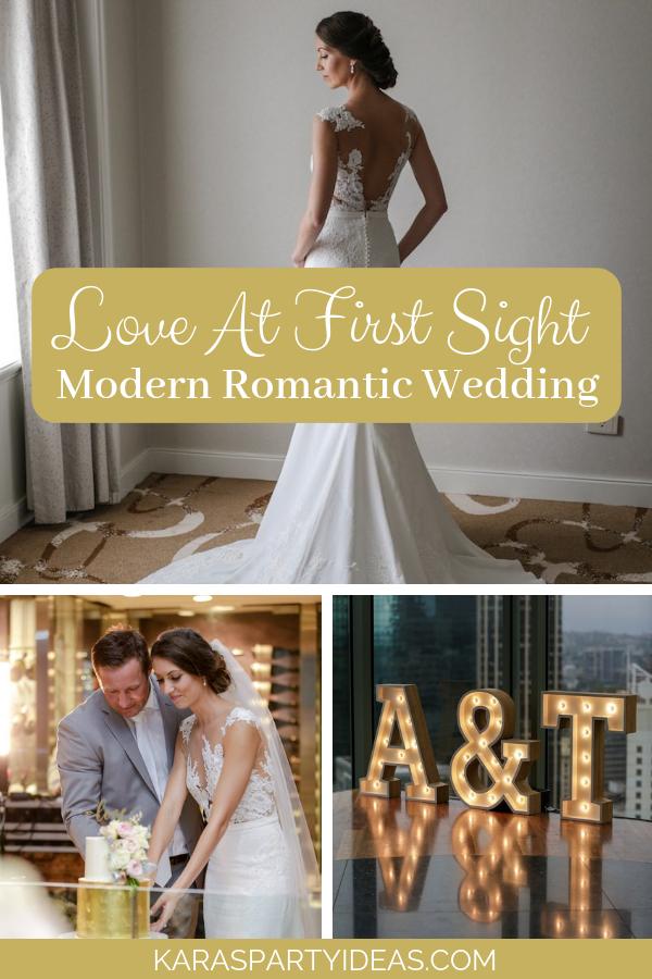 Love at first sight modern romantic wedding via KarasPartyIdeas - KarasPartyIdeas.com