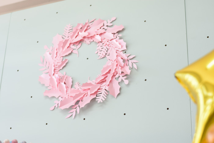 Pink Paper Wreath from a Modern Minimal Nordic-Style Christmas Party on Kara's Party Ideas | KarasPartyIdeas.com (16)