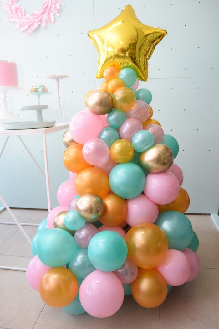 Balloon Tree from a Modern Minimal Nordic-Style Christmas Party on Kara's Party Ideas | KarasPartyIdeas.com (9)
