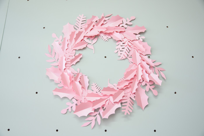 Pink Paper Wreath from a Modern Minimal Nordic-Style Christmas Party on Kara's Party Ideas | KarasPartyIdeas.com (7)