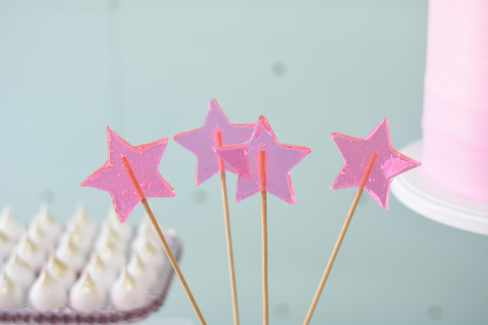 Pink Star Lollipops from a Modern Minimal Nordic-Style Christmas Party on Kara's Party Ideas | KarasPartyIdeas.com (24)