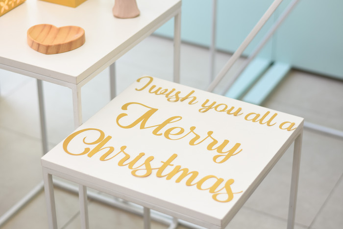 Merry Christmas Bench from a Modern Minimal Nordic-Style Christmas Party on Kara's Party Ideas | KarasPartyIdeas.com (18)