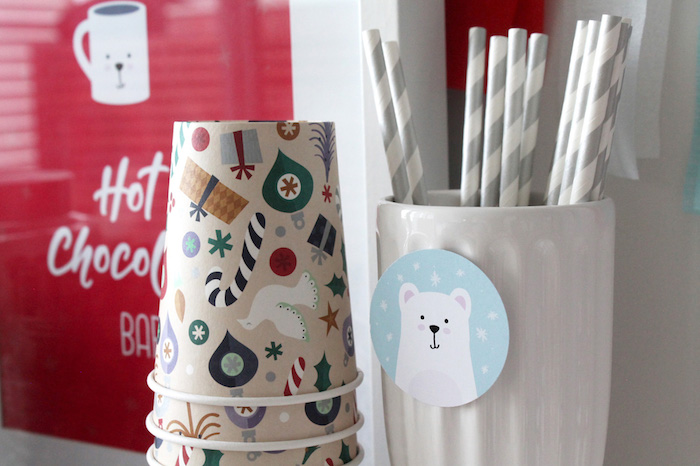 Christmas Cups from a Modern Retro Christmas Hot Cocoa Bar + FREE Printable & Recipe on Kara's Party Ideas | KarasPartyIdeas.com (9)