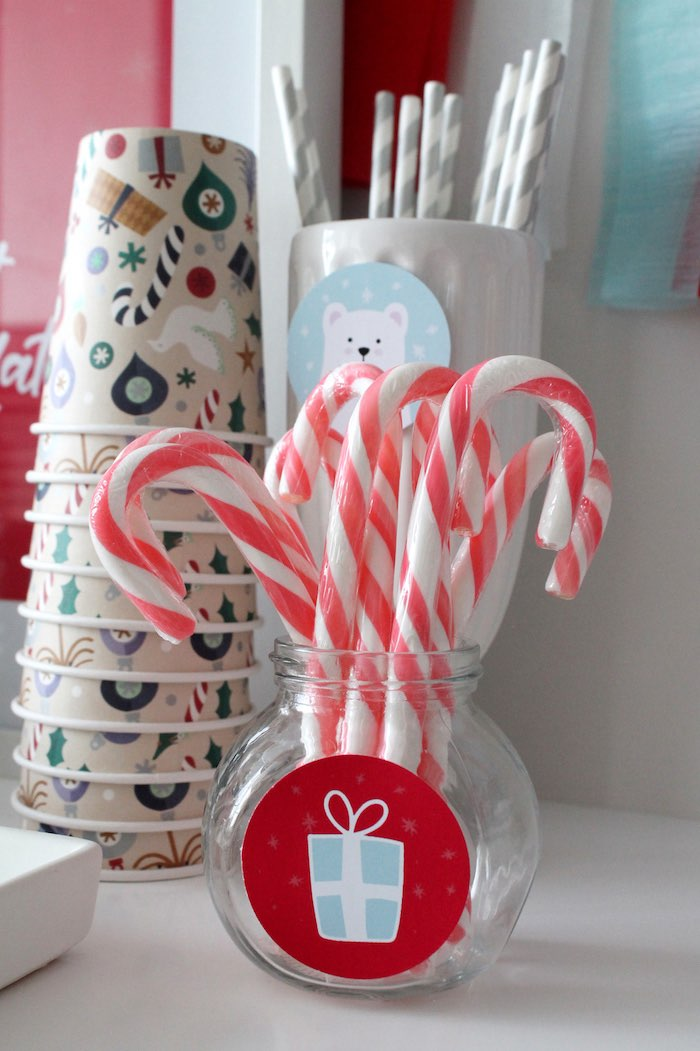 Candy Cane Stirrers from a Modern Retro Christmas Hot Cocoa Bar + FREE Printable & Recipe on Kara's Party Ideas | KarasPartyIdeas.com (8)