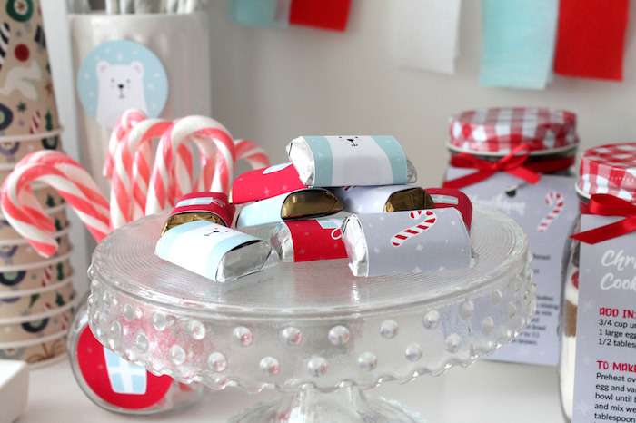 Mini Christmas Chocolate Bars from a Modern Retro Christmas Hot Cocoa Bar + FREE Printable & Recipe on Kara's Party Ideas | KarasPartyIdeas.com (14)