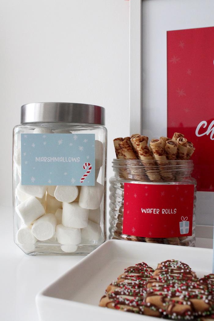 Marshmallows & Wafer Rolls from a Modern Retro Christmas Hot Cocoa Bar + FREE Printable & Recipe on Kara's Party Ideas | KarasPartyIdeas.com (12)