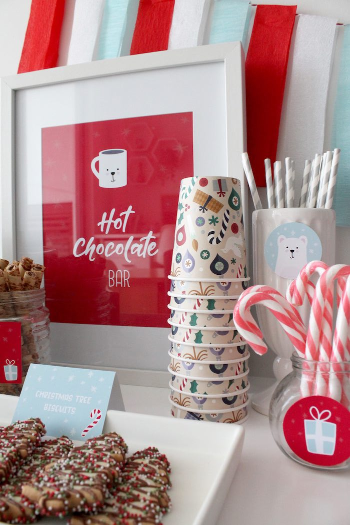 Hot Chocolate Bar Sign from a Modern Retro Christmas Hot Cocoa Bar + FREE Printable & Recipe on Kara's Party Ideas | KarasPartyIdeas.com (11)