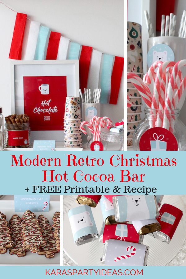Modern Retro Christmas Hot Cocoa Bar + FREE Printable & Recipe via Kara's Party Ideas - KarasPartyIdeas.com