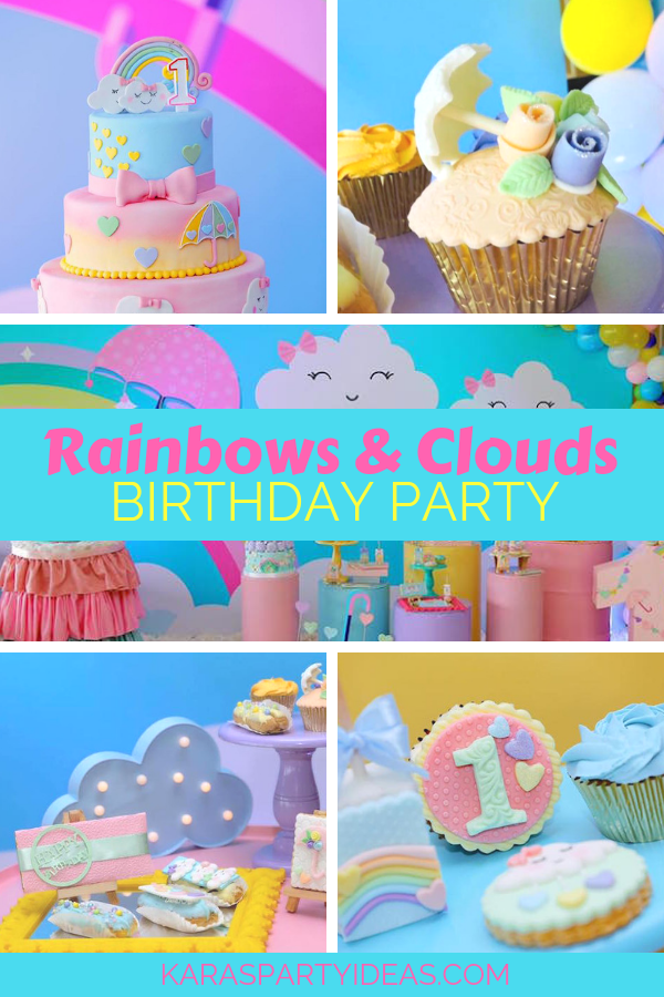 Rainbows & Clouds Birthday Party via Kara's Party Ideas - KarasPartyIdeas.com