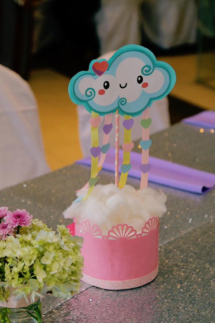 Raining Cloud Table Centerpiece from a Rainbows & Clouds Birthday Party on Kara's Party Ideas | KarasPartyIdeas.com (16)