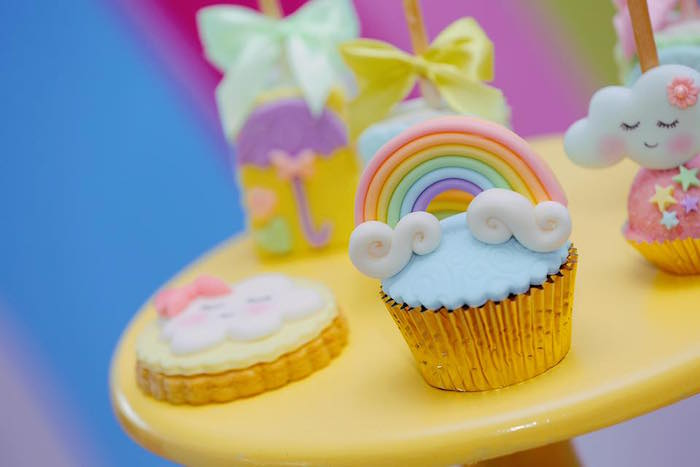 Rainbow Cupcake from a Rainbows & Clouds Birthday Party on Kara's Party Ideas | KarasPartyIdeas.com (12)