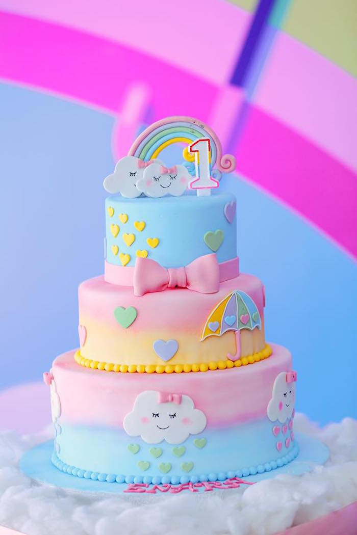 Pastel Rainbow & Cloud Cake from a Rainbows & Clouds Birthday Party on Kara's Party Ideas | KarasPartyIdeas.com (6)