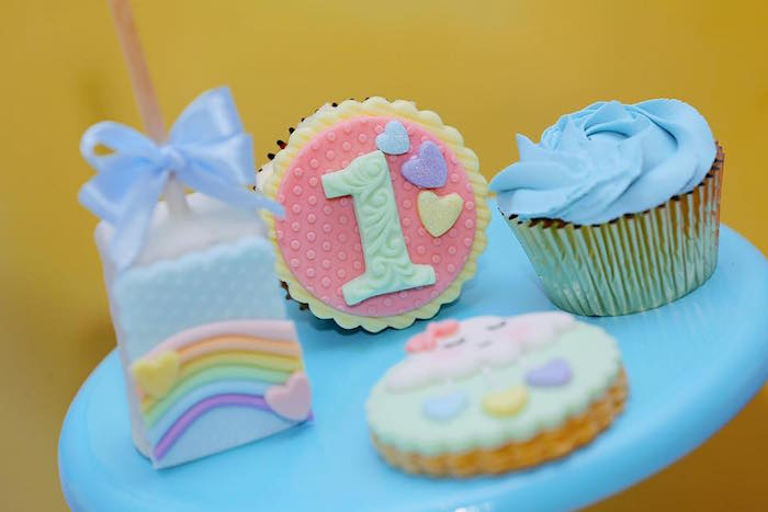Rainbow Themed Sweets from a Rainbows & Clouds Birthday Party on Kara's Party Ideas | KarasPartyIdeas.com (4)