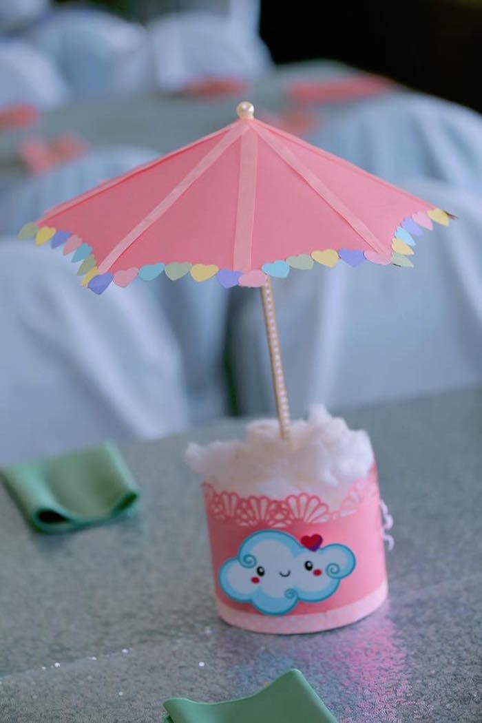 Umbrella & Cloud Table Centerpiece from a Rainbows & Clouds Birthday Party on Kara's Party Ideas | KarasPartyIdeas.com (25)