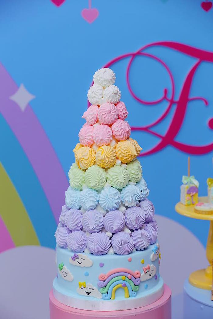 Meringue Tower Rainbow Cake from a Rainbows & Clouds Birthday Party on Kara's Party Ideas | KarasPartyIdeas.com (24)