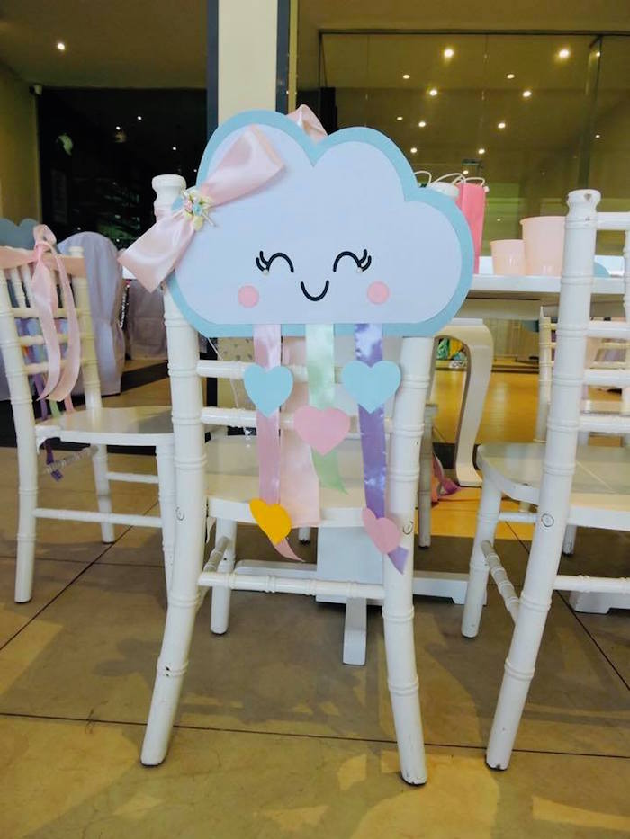Cloud - Chair Decoration from a Rainbows & Clouds Birthday Party on Kara's Party Ideas | KarasPartyIdeas.com (20)
