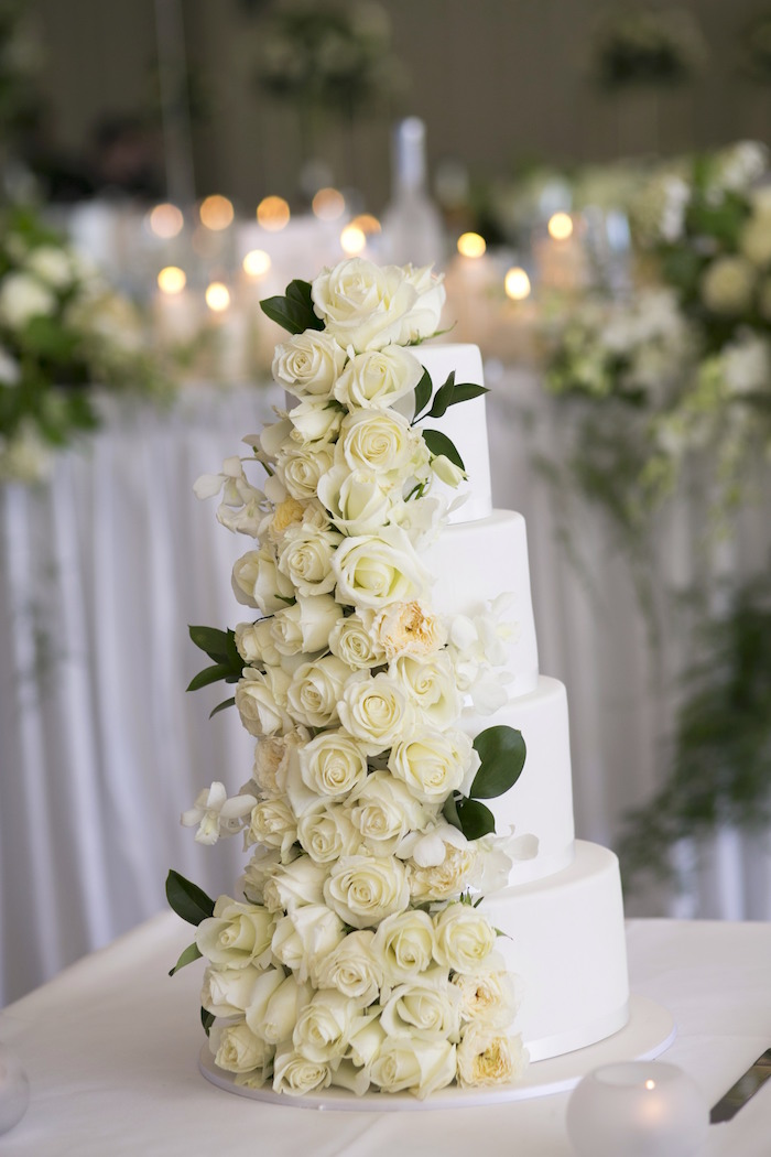 White Rose Wedding Cake From A Romantic Fairy Tale On Karas Party Ideas