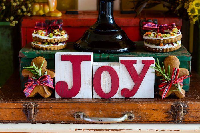 JOY - Block Letter Sign from a Rustic Australian Christmas Dessert Table on Kara's Party Ideas | KarasPartyIdeas.com (29)