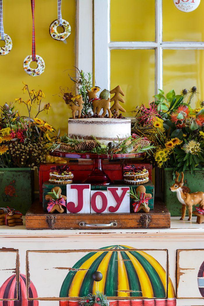 JOY Cake from a Rustic Australian Christmas Dessert Table on Kara's Party Ideas | KarasPartyIdeas.com (28)