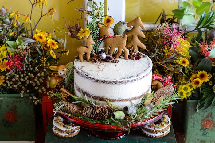 Rustic Spice Naked Cake topped with Gingerbread Deer Cookies from a Rustic Australian Christmas Dessert Table on Kara's Party Ideas | KarasPartyIdeas.com (24)