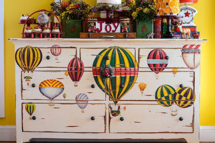 Hot Air Balloon-adorned Dresser from a Rustic Australian Christmas Dessert Table on Kara's Party Ideas | KarasPartyIdeas.com (16)