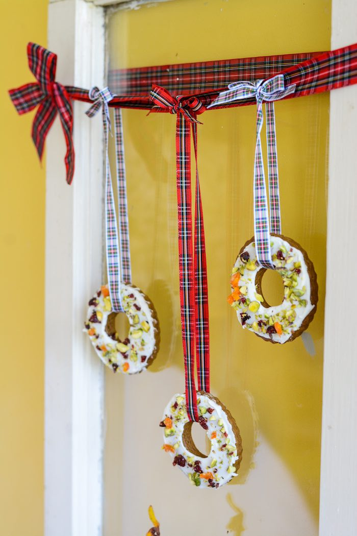Iced Ginger Cookies hung with Tartan Ribbon from a Rustic Australian Christmas Dessert Table on Kara's Party Ideas | KarasPartyIdeas.com (13)