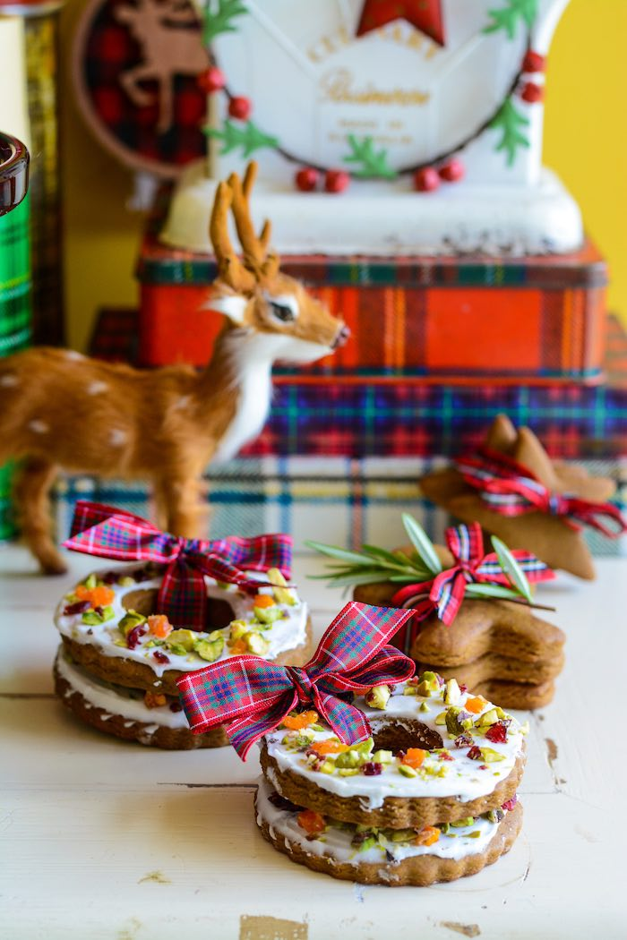 Iced Ginger Cookies tied with Tartan Ribbon from a Rustic Australian Christmas Dessert Table on Kara's Party Ideas | KarasPartyIdeas.com (11)