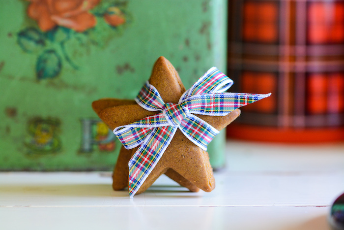 Gingerbread Star Cookies tied with Tartan Ribbon from a Rustic Australian Christmas Dessert Table on Kara's Party Ideas | KarasPartyIdeas.com (10)