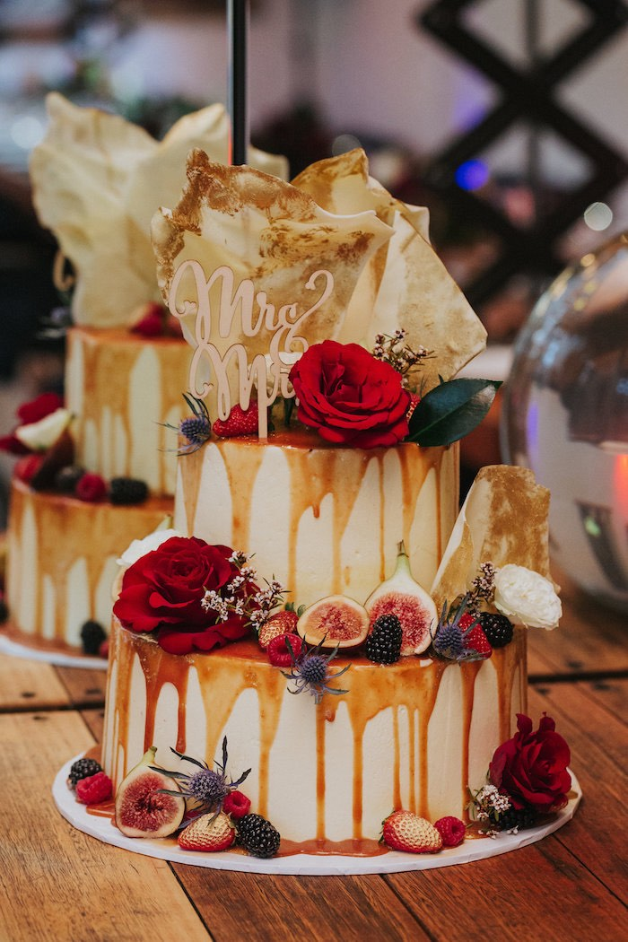 Floral Drip Cake from a Rustic Mountain Wedding on Kara's Party Ideas | KarasPartyIdeas.com (16)