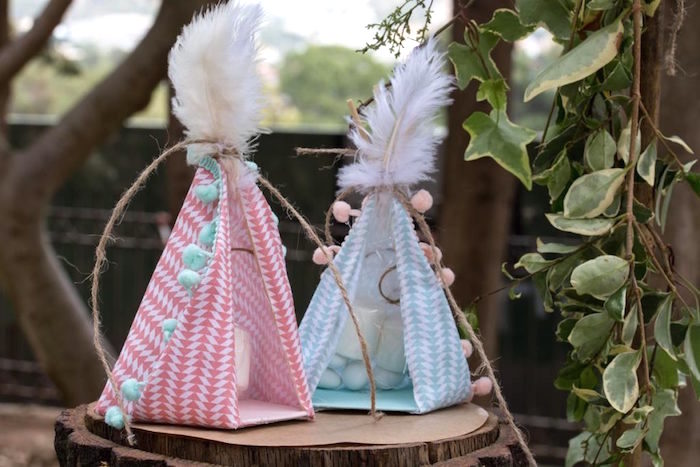 Favor Teepees packed with Candy Bags from a Rustic Woodland Baptism on Kara's Party Ideas | KarasPartyIdeas.com (23)