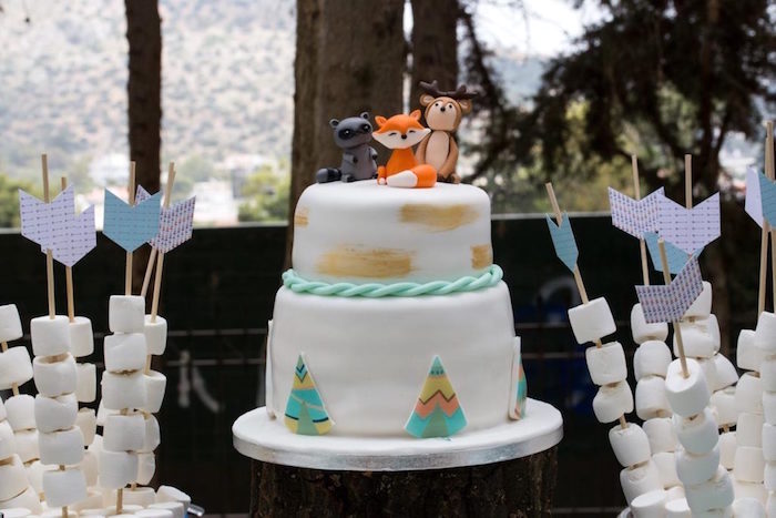 Woodland Cake from a Rustic Woodland Baptism on Kara's Party Ideas | KarasPartyIdeas.com (19)