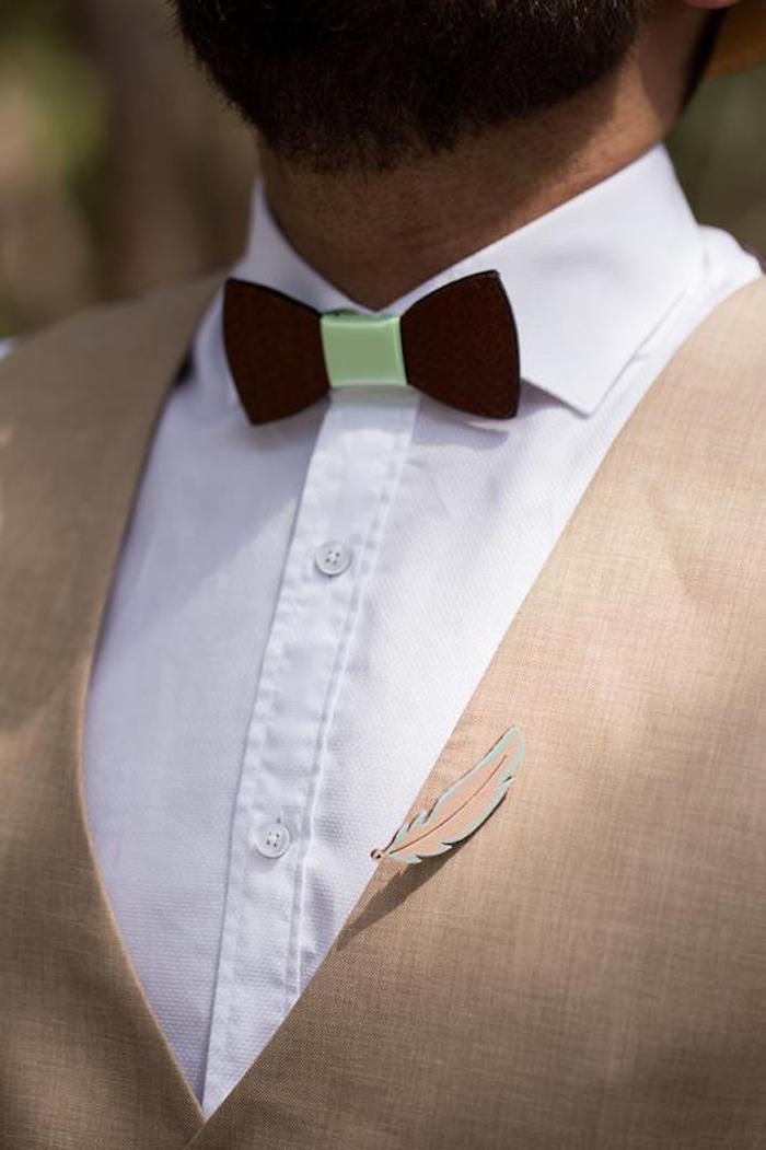 Woodland Bowtie + Feather Pin from a Rustic Woodland Baptism on Kara's Party Ideas | KarasPartyIdeas.com (32)