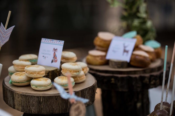 Woodland Macarons from a Rustic Woodland Baptism on Kara's Party Ideas | KarasPartyIdeas.com (12)