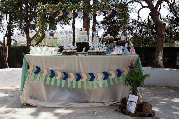 Woodland Themed Dessert Table from a Rustic Woodland Baptism on Kara's Party Ideas | KarasPartyIdeas.com (10)
