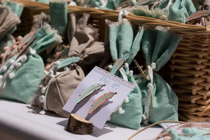 Feather Pins & Favor Sacks from a Rustic Woodland Baptism on Kara's Party Ideas | KarasPartyIdeas.com (8)