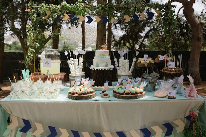 Woodland-inspired Sweet Table from a Rustic Woodland Baptism on Kara's Party Ideas | KarasPartyIdeas.com (7)