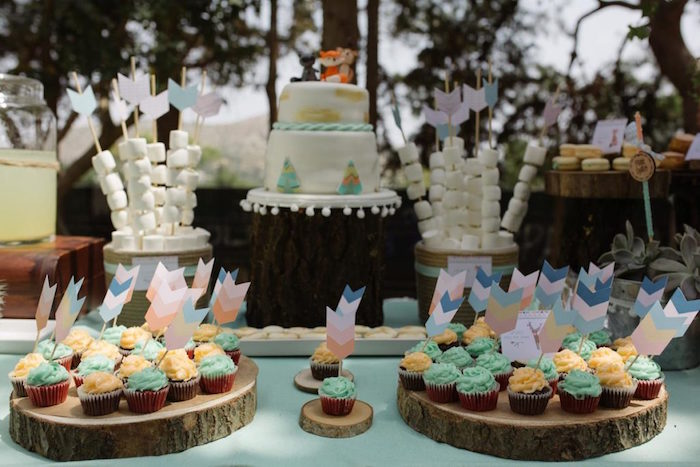 Woodland Cupcakes with Arrow Toppers from a Rustic Woodland Baptism on Kara's Party Ideas | KarasPartyIdeas.com (6)